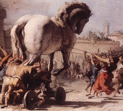 The Procession of the Trojan Horse, Giovanni Domenico Tiepolo (1727-1804) [Public domain], via Wikimedia Commons