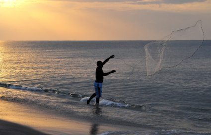 fisherman on a beach casting a net into the sea at dawn