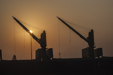 cranes at the docks at Chennai, India